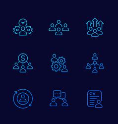 Team management hr line icons set vector