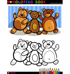 Teddy Bears cartoon for coloring vector image