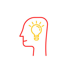 thin line light bulb in human head vector image