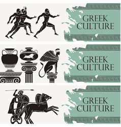 travel banners on theme greek culture vector image