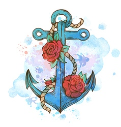 Vintage hand drawn anchor and red roses vector image