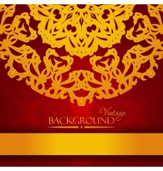 Vintage red and gold elegant invitation card vector image