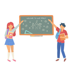 Welcome to our family chalkboard in classroom vector