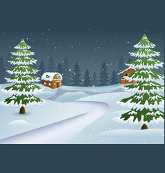 Winter night scene with a snowy wooden house an vector