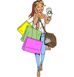 woman shopping clipart cartoon vector image