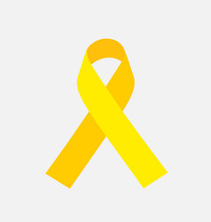 Yellow awareness ribbon on gray background bone vector