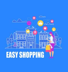 Young womanmaking easy shopping online purchase vector