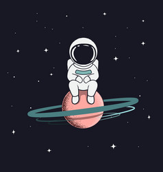astronaut sits on saturn vector image vector image