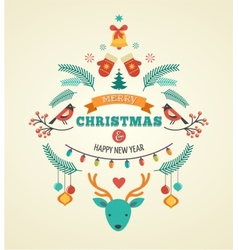 Christmas design with birds elements ribbons and vector image vector image