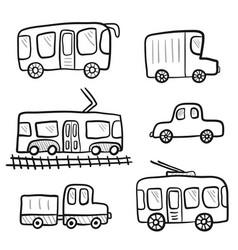cute cartoon doodle outline city transport vector image