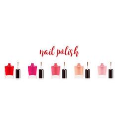 different colors nail polish set nail varnish in vector image