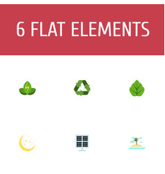 flat icons foliage eco energy isle beach and vector image
