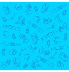 Hand Drawn Ski Seamless Pattern vector image