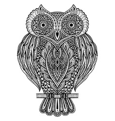 Black and white hand drawn ornate owl vector image vector image