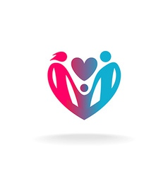 Classical family of three people in a heart shape vector image