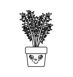 monochrome silhouette of caricature carrot plant vector image