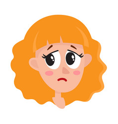 pretty blonde hair woman crying facial expression vector image vector image