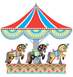 roundabout horse carousel vector image