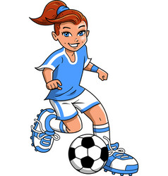 soccer football girl player clipart cartoon vector image vector image