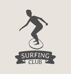 surfing club logo icon or symbol man surfer vector image vector image
