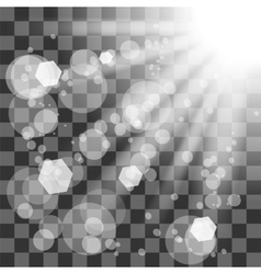 Transparent Sun Light on Checkered Background vector image