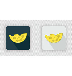 yellow semicircular cheese icon vector image
