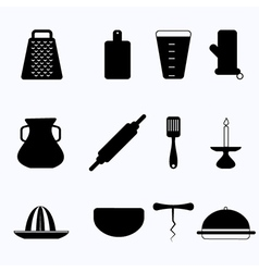 Black icons for kitchenware vector image vector image