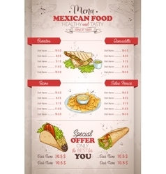Drawing vertical color mexican food menu vector image vector image