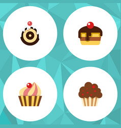flat cake set of muffin dessert sweetmeat and vector image vector image