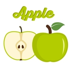 Green apple - whole and cut fruit vector image