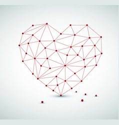 Modern heart made from triangles vector
