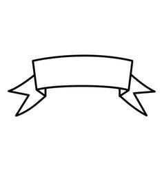 silhouette ribbon label decorative icon vector image