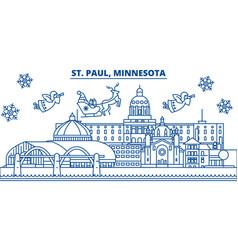 usa minnesota st paul winter city skyline vector image vector image