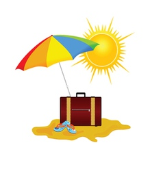 beach on a color vector image