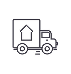 delivery truck line icon sign vector image vector image