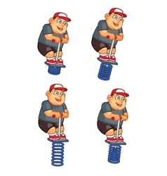 Fat Boy Jumping Pogo Sprite vector image
