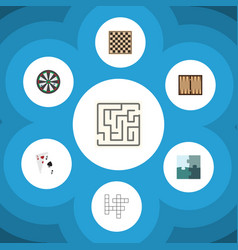 flat icon entertainment set of arrow chess table vector image vector image