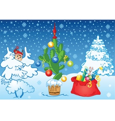 winter background with cactus vector image
