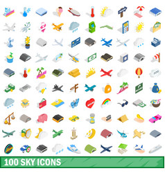 100 sky icons set isometric 3d style vector