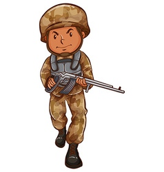 A drawing of a soldier with a gun vector image