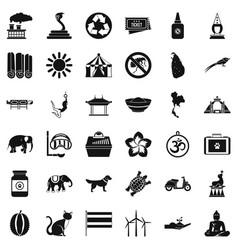 Animal elephant icons set simple style vector