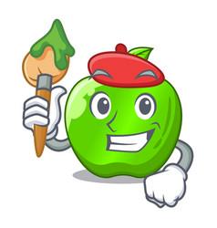 artist cartoon of big shiny green apple vector image