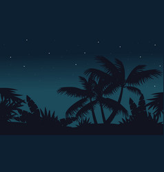 At night palm on jungle scenery vector