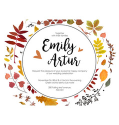 Autumn fall wedding invite card with leaves wreath vector