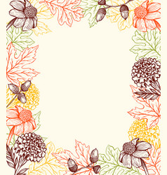 autumn vintage background with flowers vector image
