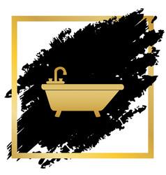 Bathtub sign golden icon at vector