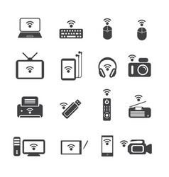 big data icon set wireless technology vector image