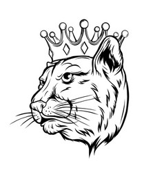 black panther with crown on his head and open vector image