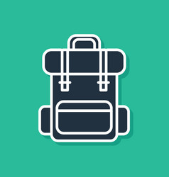 Blue hiking backpack icon isolated on green vector
