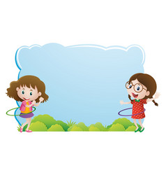 border template with girls playing hulahoop vector image